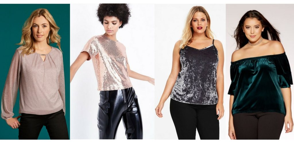 d76c0b722f7e11 Glitter long sleeve blouse in pale pink £22.00 at Bonmarché Rose gold sequin  T-shirt £19.99 at New Look Grey velvet camisole top £25.00 at Evans